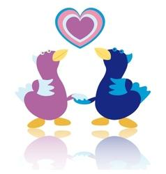 Cartoon ducks on white background vector image vector image