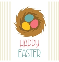 Happy Easter greeting card with decorative nest vector image