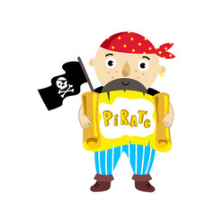 Pirate character with scroll icon vector