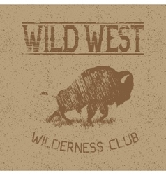 Western vintage label with bison vector image