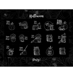 Witch accessories hat pot with potion wall vector