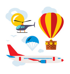 aviation icons set flat style colorful vector image vector image