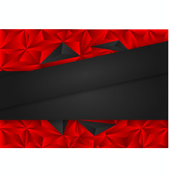 black and red polygon abstract background vector image