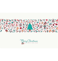 christmas and new year hand drawn icon pattern vector image vector image