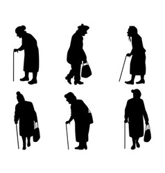 Elder women silhouettes vector
