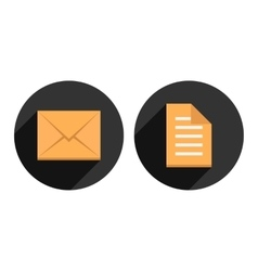 envelope and check list in circles with long vector image vector image