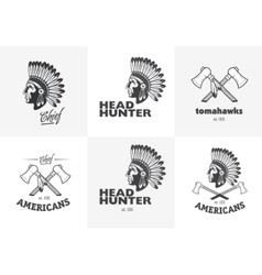 Set of american indian emblems labels badges vector image