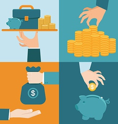 set of banking concepts in flat style vector image