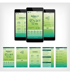 set of green mobile user interface design vector image vector image