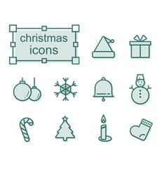 Thin line icons set Christmas vector image