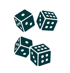 two black dice cubes on white background vector image vector image