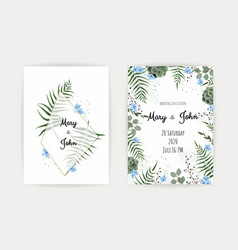 wedding invitation with green leaf eucalyptus vector image