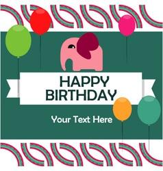 Birthday card with cute elephant vector image