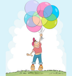 boy with balloons vector image