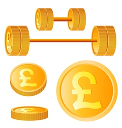 dumbbell of golden discs with pound vector image vector image