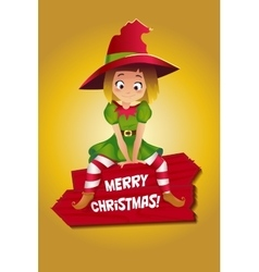 Girl in suit of Christmas elf vector image vector image
