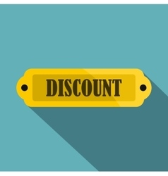 Golden discount label icon flat style vector image vector image