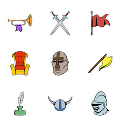 history icons set cartoon style vector image vector image