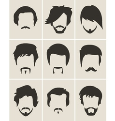 Set of hairmustachebeard silhouettes vector image vector image