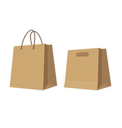 set paper brown shopping bags flat color vector image