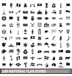 100 national flag icons set simple style vector image