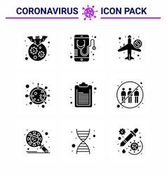 9 solid glyph black coronavirus disease vector