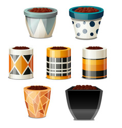 A set of creative design flower pots with soil vector