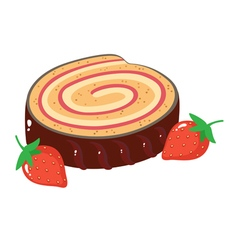 A slice of cake roulade vector
