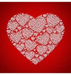 abstract doodle heart for valentine card vector image