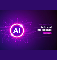 artificial intelligence landing page concept vector image