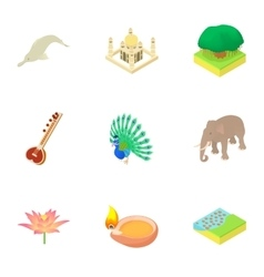Attractions of India icons set cartoon style vector