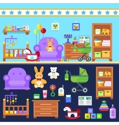 Baby boy room with furniture Nursery interior vector