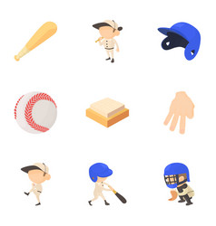 baseball equipment icons set cartoon style vector image