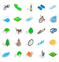 beautiful icons set isometric style vector image