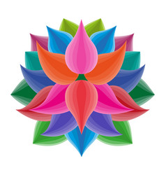 beautiful lotus flower symbol colorful vector image