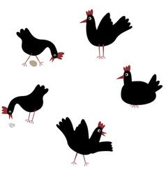 Black chicken vector