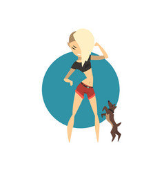 Blonde glamour girl walking with dog vector