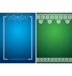 blue and green cards with white floral frames vector image