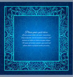 Blue border lace invitation glowing mandala vector