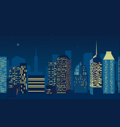 Blue city scape with silhouette tall vector