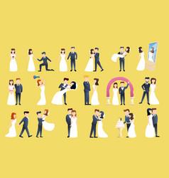 Bride icons set cartoon style vector