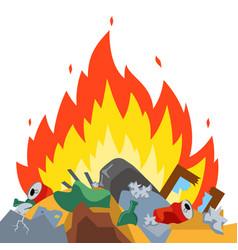 Burn garbage at landfill vector