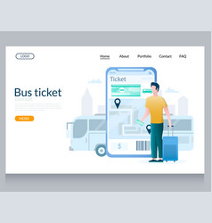 bus ticket website landing page design vector image