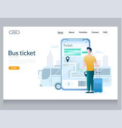 Bus ticket website landing page design vector