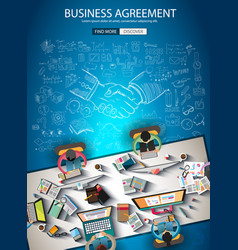 business agreement brochure template with hand vector image