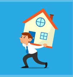 Businessman carries a house vector