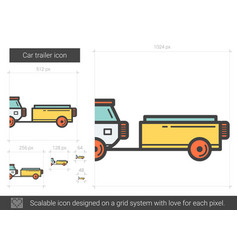 Car trailer line icon vector