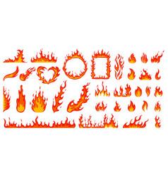 Cartoon campfire fire flames bright fireball vector