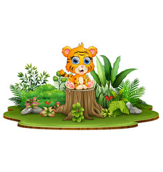 Cartoon happy baby tiger sitting on tree stump wit vector