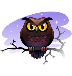 Cartoon wise owl sitting on a branch against the vector